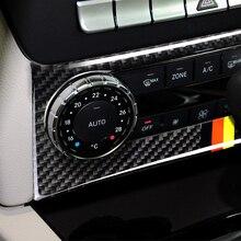 Panel de aire acondicionado de fibra de carbono para coche, cubierta de marco de Control de Audio para Mercedes Benz Clase C W204 2010 2011 2012 2013