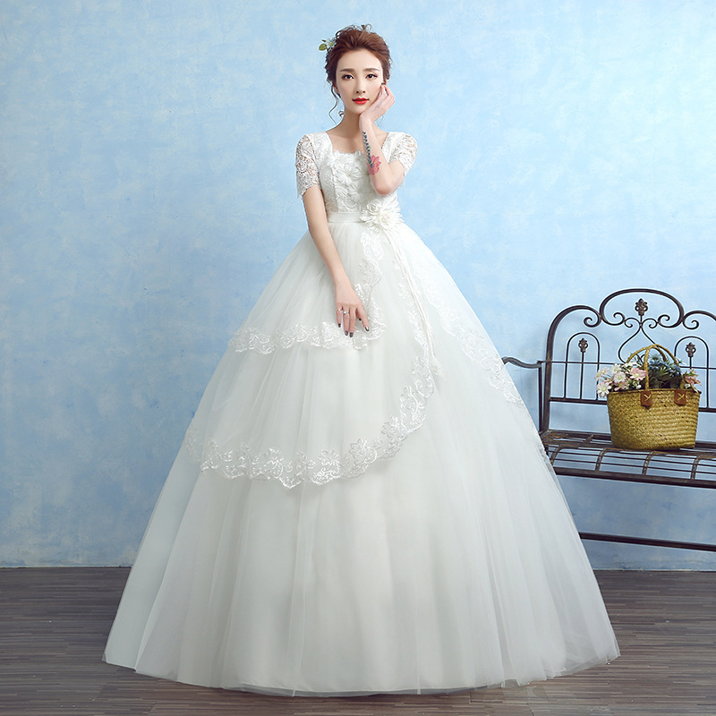 New Flower Wedding Dresses Short Sleeve O-Neck Tulle Lace Up Ball Gown Elegant Women Marriage Dresses Vestido De Noiva 2019