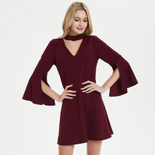 Uguest Women Red Dress Solid Elegant Ruffles Sleeve V Neck Lady