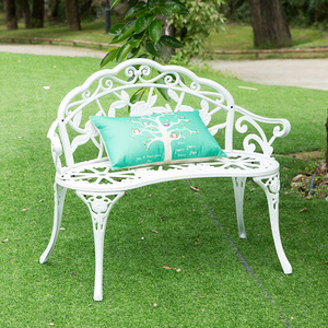 Image 2 - Love seat cast aluminum leisure chair park yard bench garden seat for outdoor furniture decoration rose design Bronze