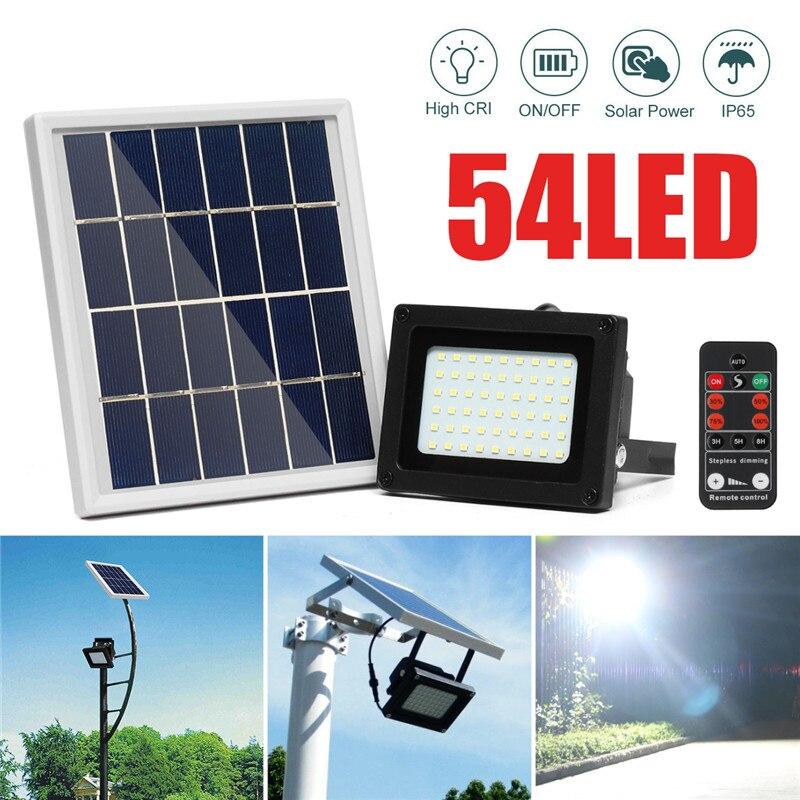 10W 54LED Solar Light Sensor Flood Spotlight IP65 Waterproof Outdoor Lamp Security Yard Garden Wall Lamps Solar Night Lighting