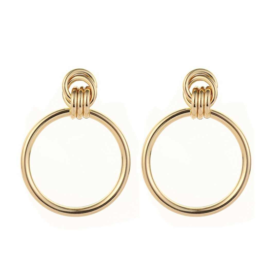 Charms Women Trendy Gold Big Round Circle Geometric Stud Earrings Shellhard Classic Romantic Ear Stud Simple Jewelry Gifts