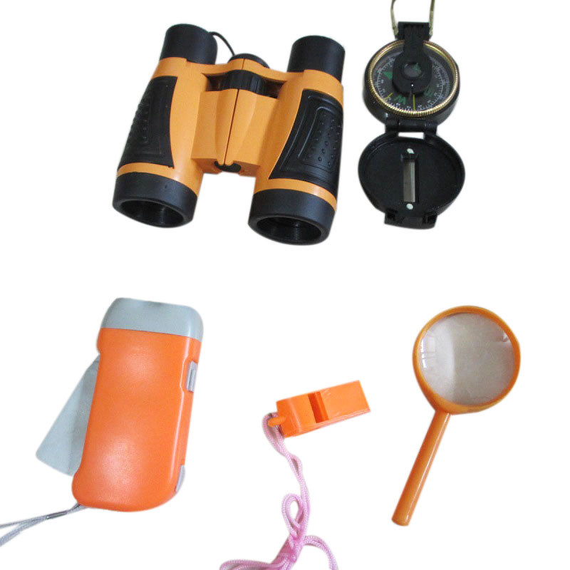 Children'S Outdoor Toy Set Young Explorer Toy Set Children'S Binoculars, Flashlight, Compass, Magnifying Glass, Whistle. Teles