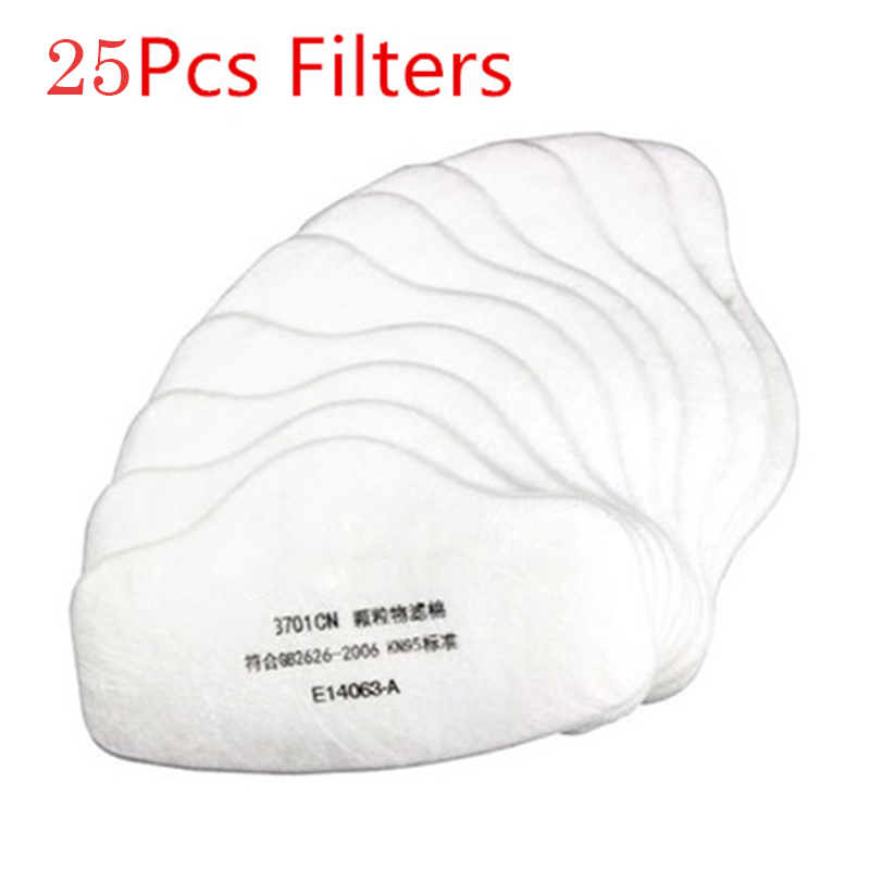 25pcs Anti Dust Fog Gas Mask Respirator Safety Protective Filter Half Face Masks For 3M 3200