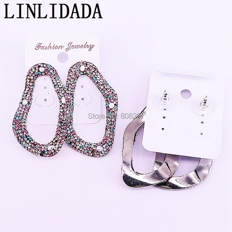 4Pairs Pave Multicolor Rhinestone Zircon Charm Stud Earrings Jewelry for Women