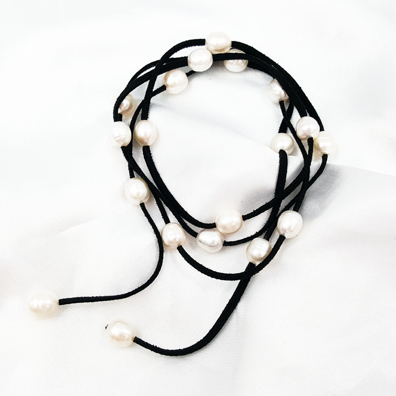 Lii Ji naturel perle d'eau douce riz forme 9-10mm collier en cuir, Bracelet de perles environ 114 cm