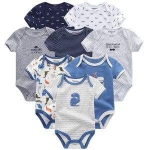 Image 4 - Одежда для маленьких мальчиков, 8 шт./компл., унисекс, комбинезоны для новорожденных девочек, roupas de bebe, хлопковые детские комбинезоны с короткими рукавами, одежда для малышей