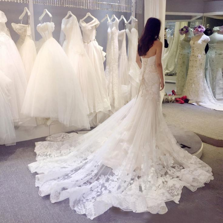 VENSANAC Elegant Strapless Lace Appliques Mermaid Wedding Dresses Off The Shoulder Backless Court Train Bridal Gowns