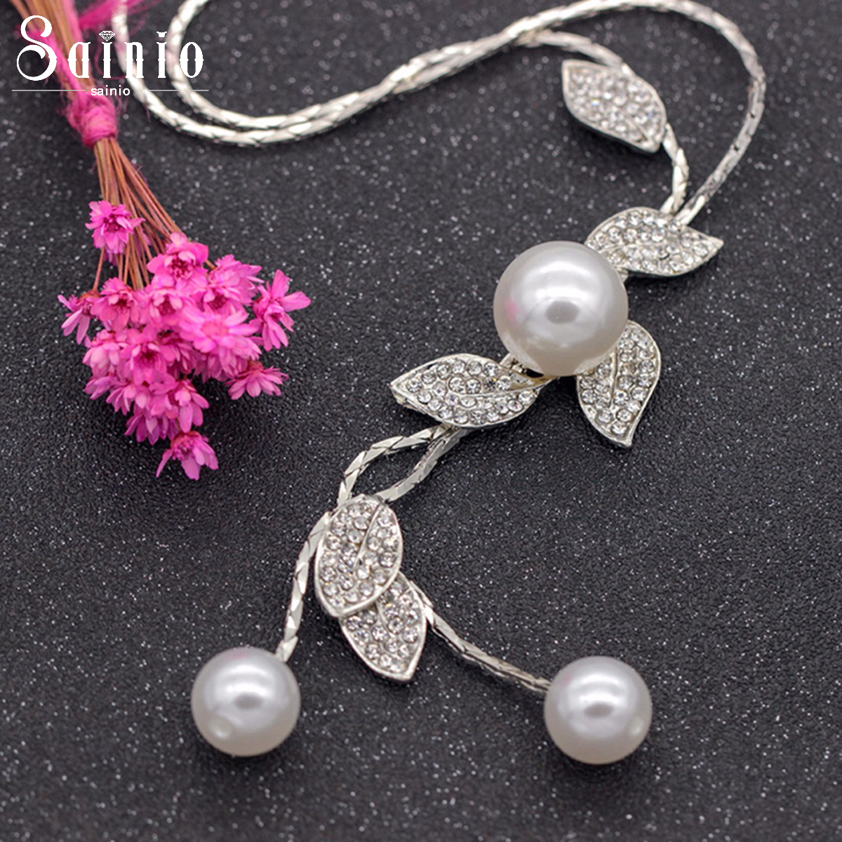 Sainio Leaf Long Beaded Chain Tassel Pendant Necklace Sweater Chain Necklace Women Office Lady Imitation Pearl Jewelry