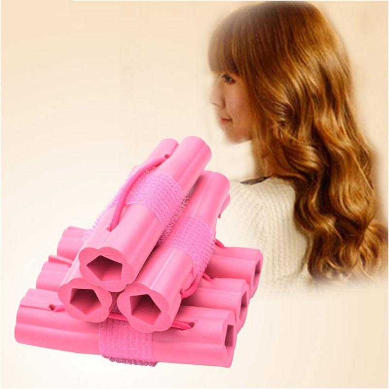 Купить с кэшбэком New Fashion 6pcs Magic Sponge Hair Curler DIY Wavy Travel Home Use Soft Hair Foam Curler Rollers Styling Tools