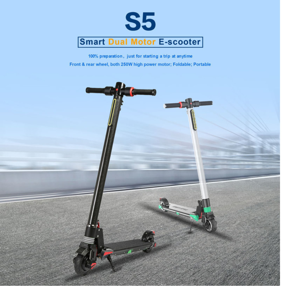 Flash Deal Dual Motors 2018 New Carbon Fiber Folding Electric Scooter Scooter Skateboard Bicycle Kick Scooter Powerful Electric Bicycle 3