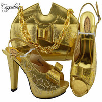 2019 Nigeria Fashion Woman Gold Shoes And Bag Set For Party New Arrival Italian Pumps Shoes With Bag Set Size 38 43 M1078