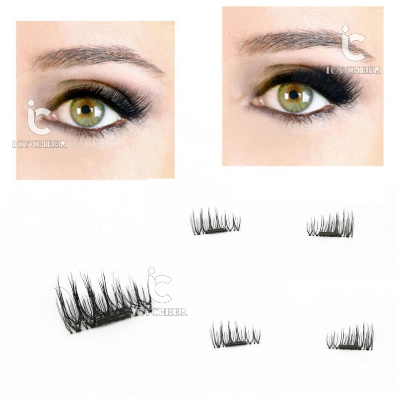 ICYCHEER 1 Pair 3D Magnetic False Eyelashes Magnet Eye Lashes Makeup Reusable Extension