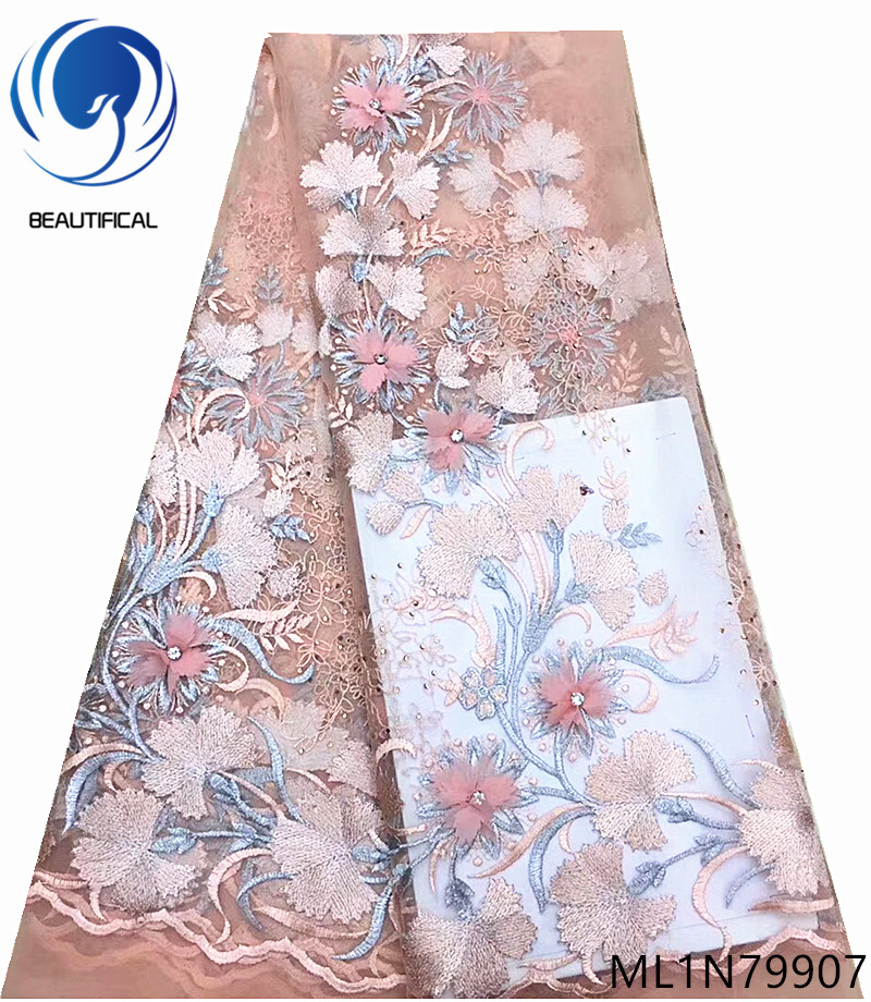 아름 다운 아프리카 프랑스어 레이스 꽃 applique 나이지리아 결혼식 3d 프랑스어 얇은 명주 그물 레이스 패브릭 자 수 ml1n799-에서레이스부터 홈 & 가든 의  그룹 1