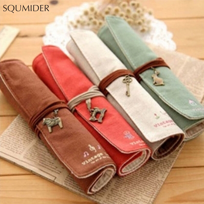 Creative Retro Canvas Pencil Case Roll Leather PU Pencil Bag Storage Pouch For Stationery School Supplies Multi Functional Bag