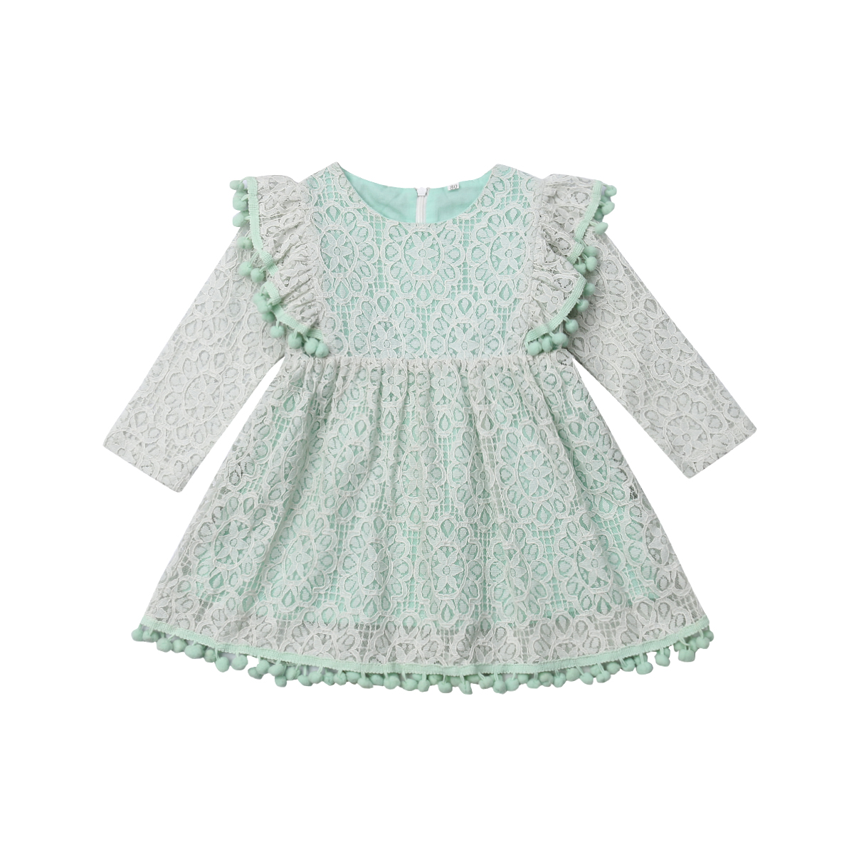 1-6Y Lace Green Kids Dresses For Girls Princess Tutu Party Dresses Toddler Girls Long Sleeve Dress FD4 2018 summer dresses kids party for girl dress children girls clothes 2 6y long sleeve crochet lace tutu princess vetement fille