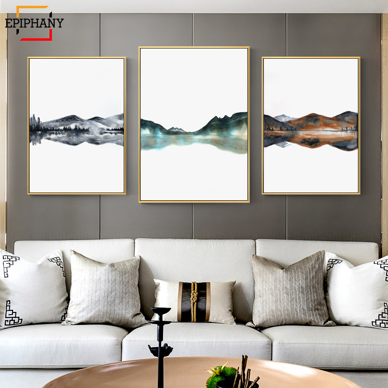 Scandinavian Mountains Lake Panorama Nodic Watercolor Wall Artwork Canvas Portray Trendy Image Room Ornament Trendy Residence Decor Portray & Calligraphy, Low-cost Portray & Calligraphy, Scandinavian Mountains Lake Panorama Nodic...
