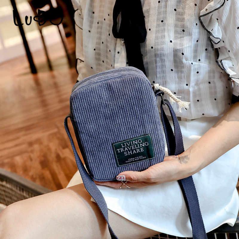 Lucdo 2018 Baru Fashion Korduroi Wanita Messenger Tas Desain Vintage Kecil Tas Bahu Ponsel Dompet Tas Bolsa Feminina