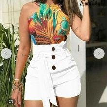 Hirigin Womens summer casual shorts high waist loose belt button solid color
