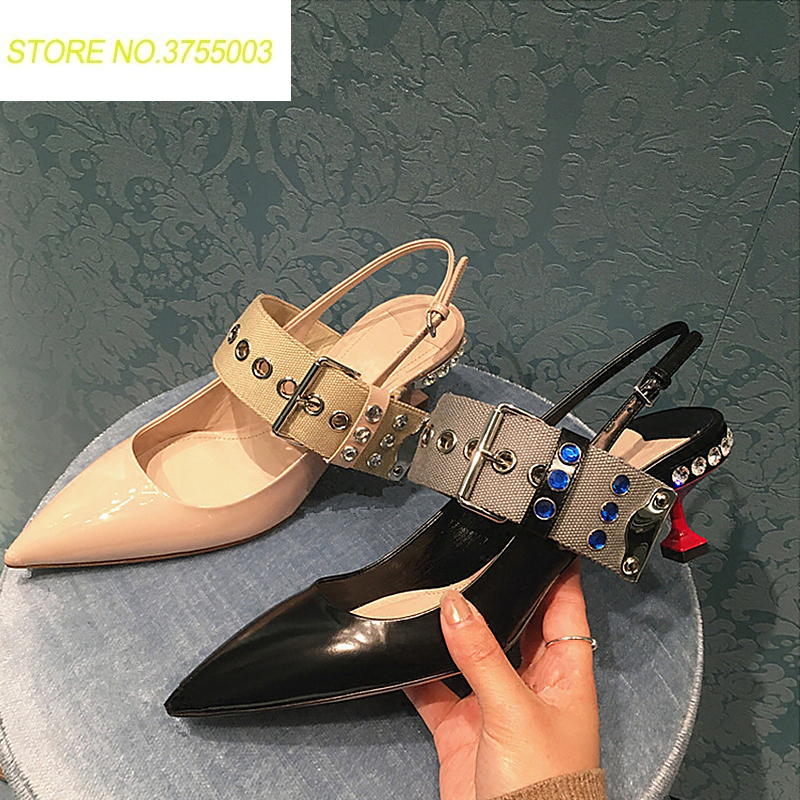 Women genuine leather crystal stud heel pumps mixed color belt buckle sexy pointed toe lady party dress shoe