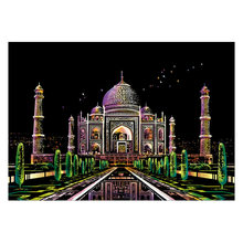 Kids Toys 40.5*28.5cm Taj Mahal City Night Scene DIY Scratch Painting Scraping Art Painting Drawing Paper+Draw Stick Brush Frame(China)