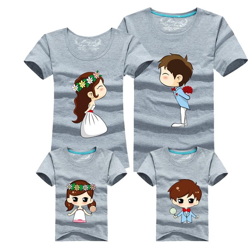 1 Piece Family Matching Outfits Mother Father Son Daughter Cartoon Bride Bridegroom Print Women Men Children Boy Girl T shirt Купальник