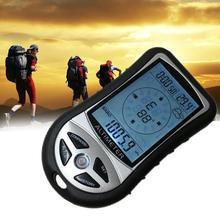 بوصلة ملاحة إلكترونية محمولة باليد 8 في 1 مقياس حرارة الارتفاع مقياس بارومتر للاستخدام الخارجي والتنزه والتخييم والصيد بوصلة