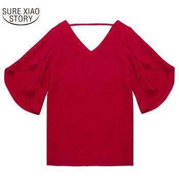 נשים שיפון חולצה קצר שרוולים 2018 קיץ חדש קוריאני נשים סקסי V-צוואר Loose לוטוס עלה בתוספת גודל חולצה 900C 30