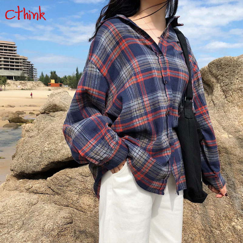 Casual 3 Colors Plaid Blouse Women Spring 2019 New Loose Tur