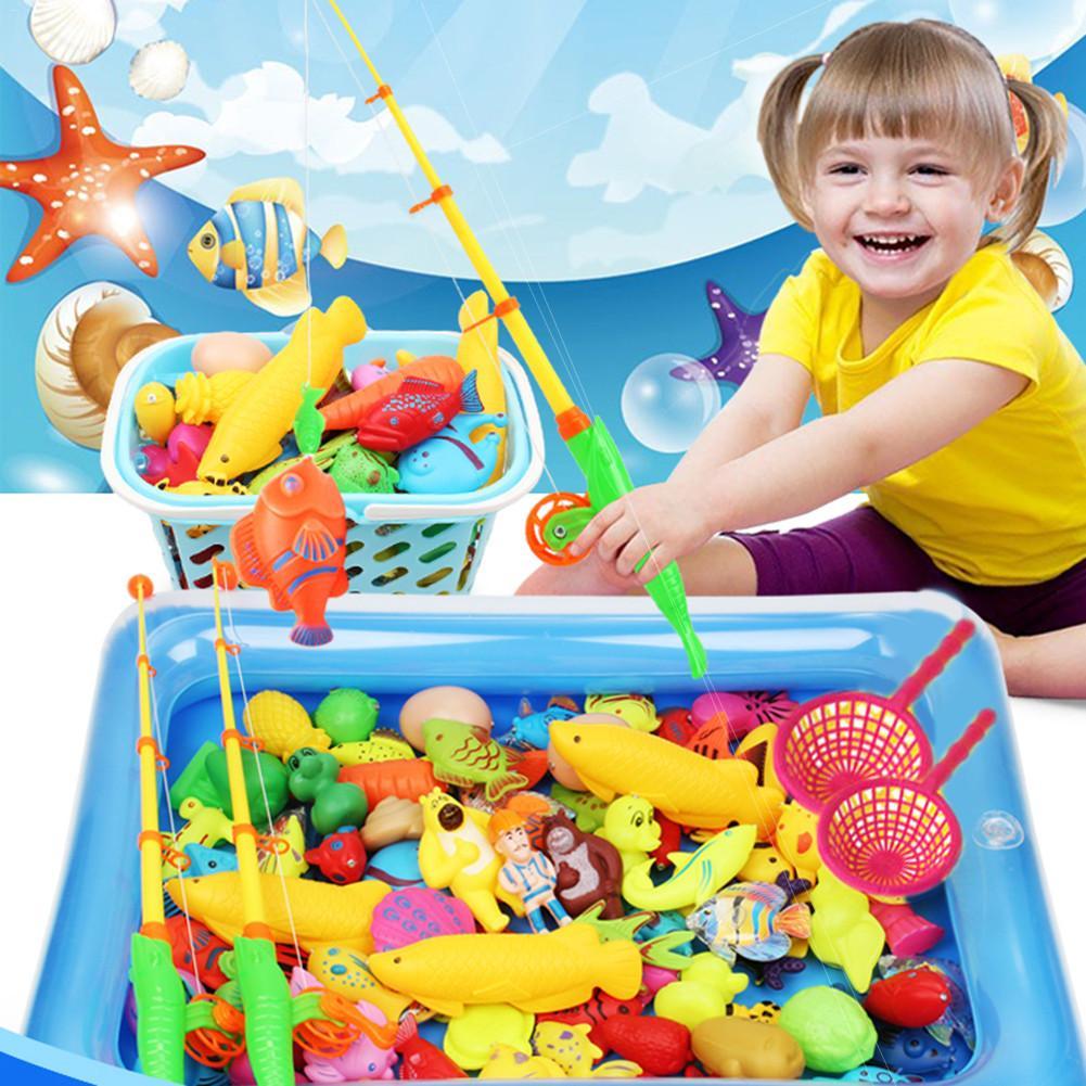 Redelijk 80 Pcs Kinderen Simulatie Vissen Speelgoed Opblaasbaar Zwembad Set Magnetische Vissen Speelgoed Vierkante Park 80 Delige Set