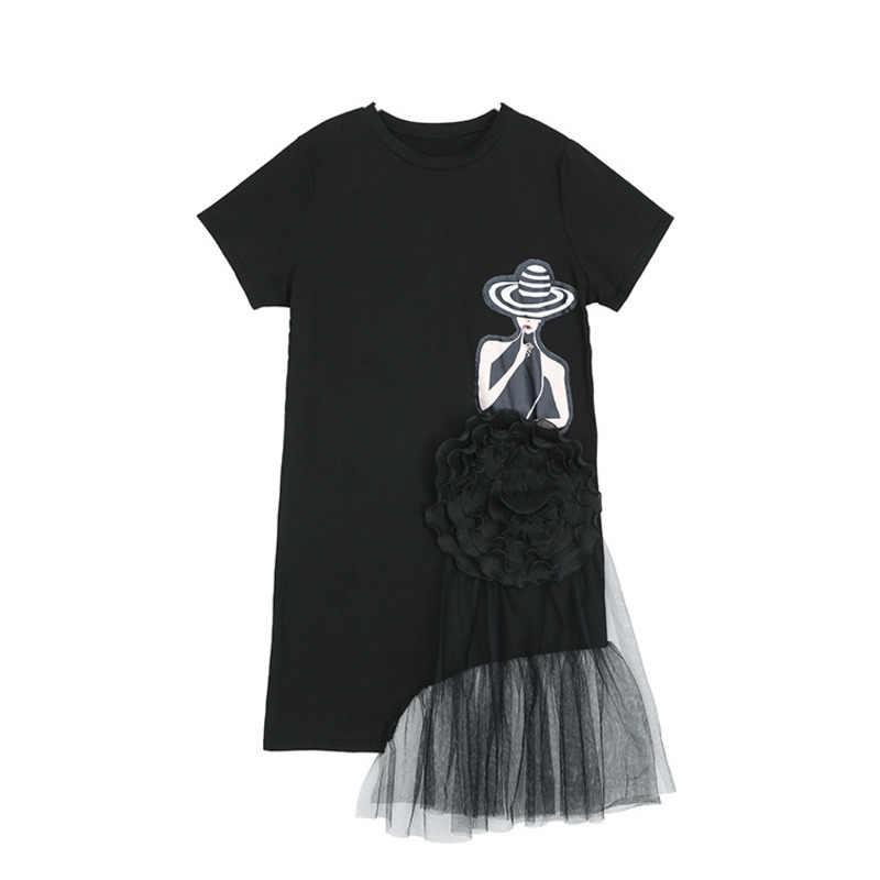 LANMREM/Новинка 2019 года, круглый вырез, короткий рукав, строчка, марля, необычное черное Повседневное платье для женщин, женская летняя одежда, QF117