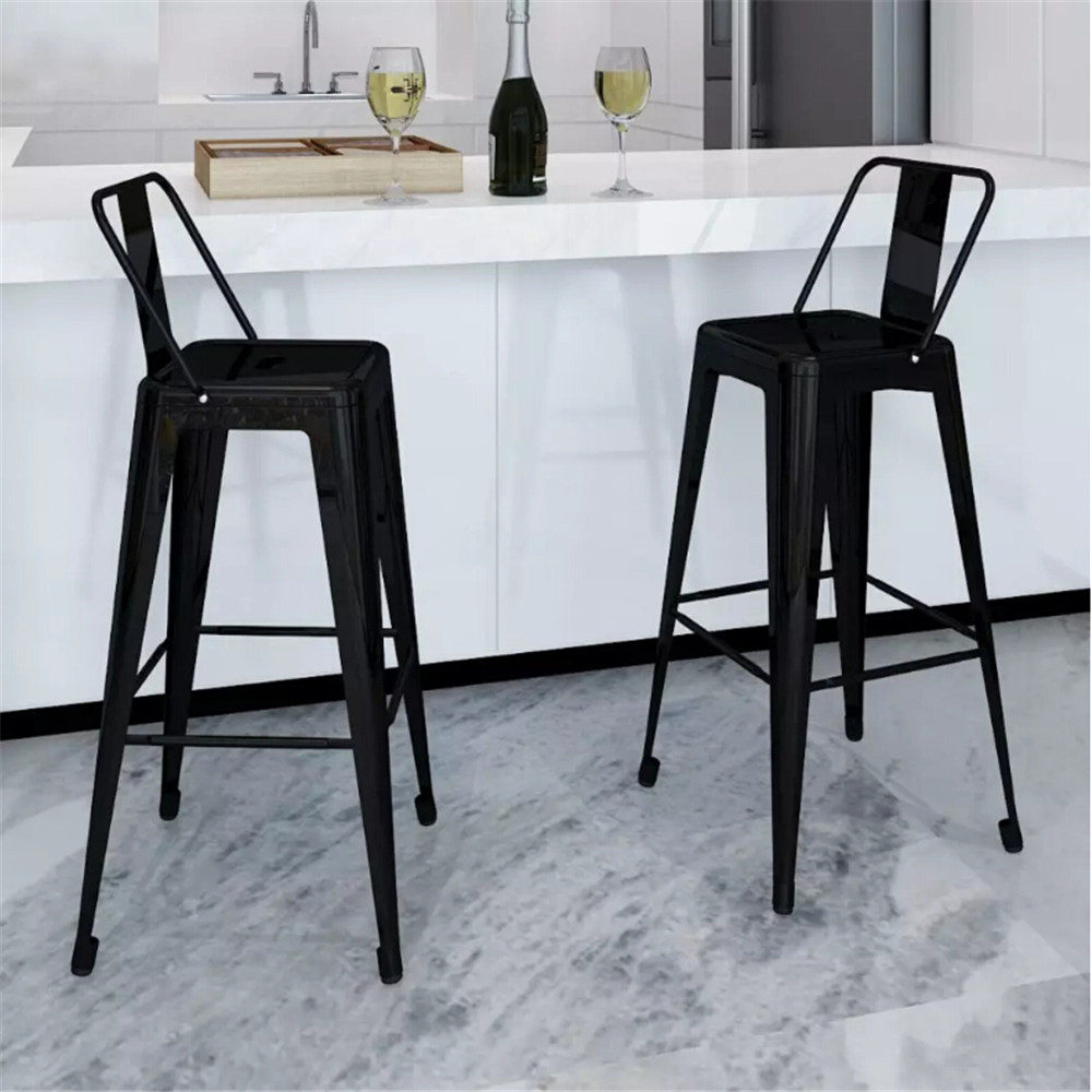VidaXL 2Pcs Bar Stools Square Black Kitchen Home Bar Furniture Chair Stool Bar ToolS DE FR IT In Stock 240929