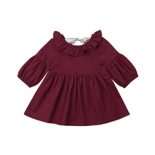 Toddler Kids Baby Girls Clothing Dress Long Sleeve Tops Bow Ruffles Casual Autumn Dress Clothes Girl 0-3T