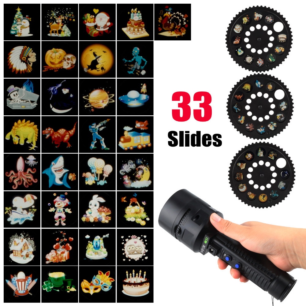 Portable Landscape Lights Christmas Projector Lights Rechargeable Anime Projector Flashlight For Halloween Xmas Decor FA