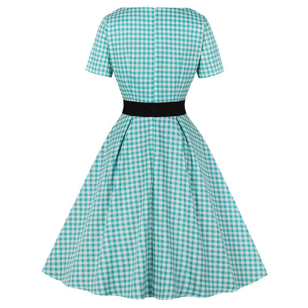 Новое клетчатое женское винтажное платье, летнее платье с квадратным вырезом и коротким рукавом, лоскутные платья с пуговицами, вечерние платья трапециевидной формы с высокой талией