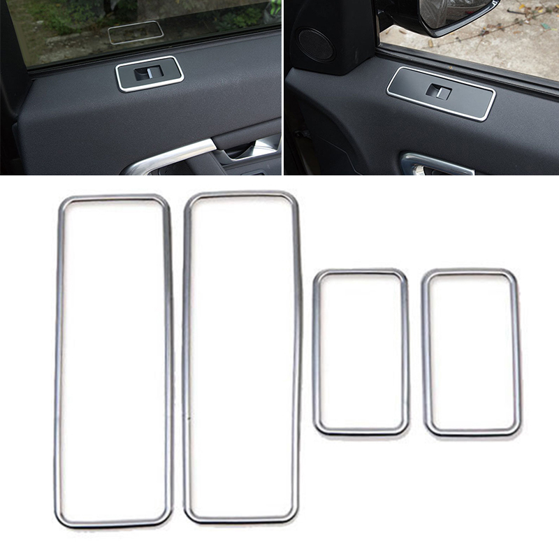 4pcs Set Silver Car Door Window Switch Cover Trim High Quality ABS Plastic suitable For Land