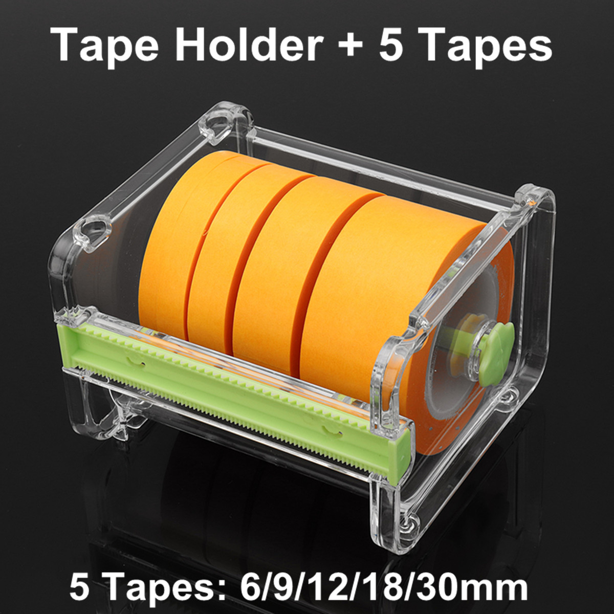 Adhesive Tape Dispenser Plastic Transparent With Tape Cutter Office Desktop Tape Holder Organizer+5 Tapes