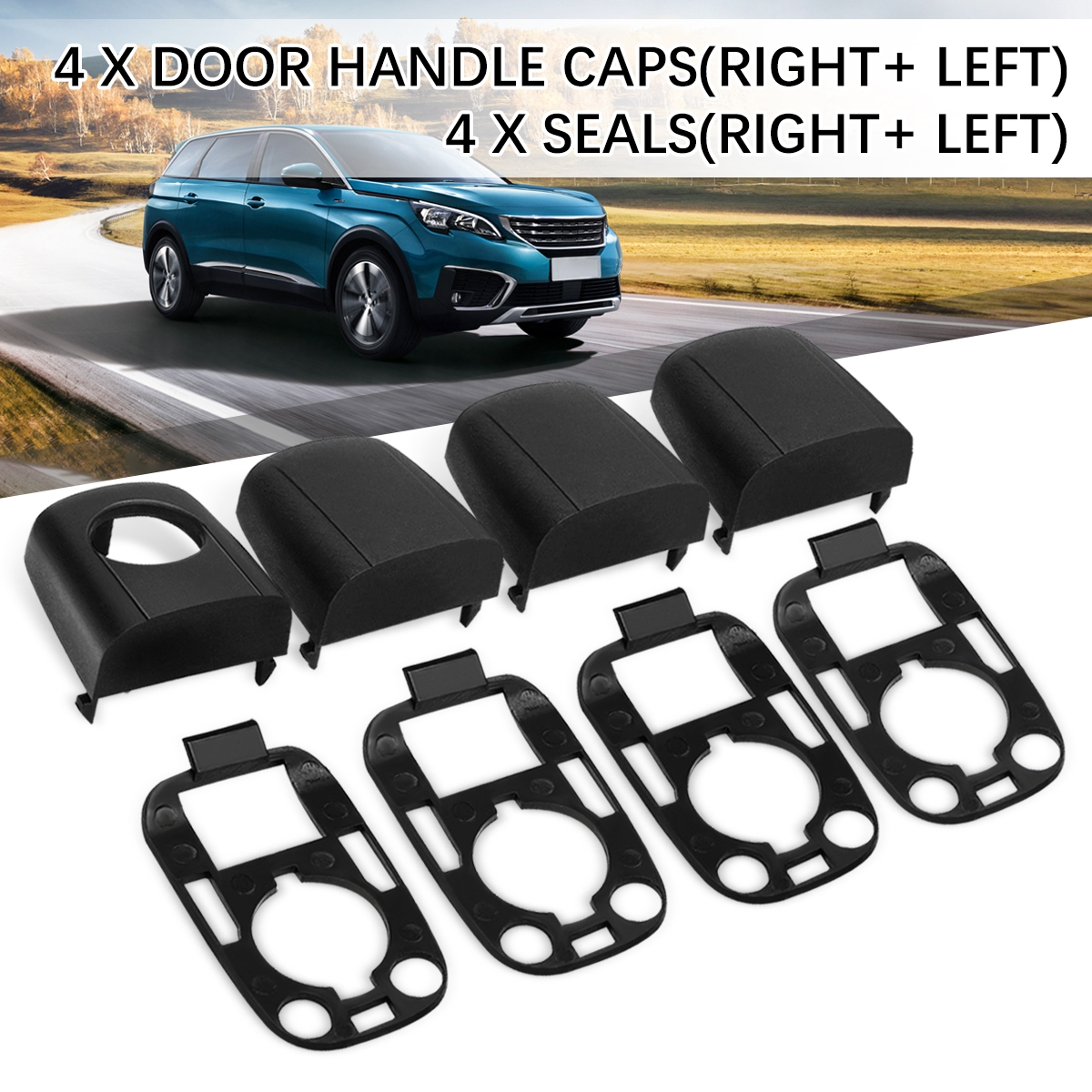 Protective Lock Cover Black L&R Door Handle Lock Cover Cap Case Trim With Gasket w/Seals For PEUGEOT 307 for CITROEN C2 C3 03-09Protective Lock Cover Black L&R Door Handle Lock Cover Cap Case Trim With Gasket w/Seals For PEUGEOT 307 for CITROEN C2 C3 03-09