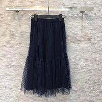 Casual Silk Black Skirt Women 2019 New Cute Casual Mid calf Skirt Women Autumn Fashion Women Skirts For Free Shipping