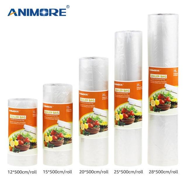 ANIMORE Voedsel Vacuümzak Keuken Voedsel Opslag Zakken Voor Vacuüm Sealer Voedsel Verse Lang Houden 12 + 15 + 20 + 25 + 28 cm * 500 cm 5 Rolls/Lot