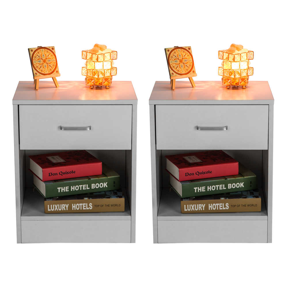 2pcs Night Stands with Drawer Fahion Nightstand European Minimalist White Wood Simple Bedside Table Cabine