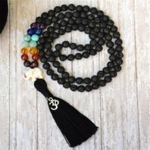 lava rock 8 мм 108 ожерелья с кисточками Lucky pray многоцветные для мужчин mala духовность Сутра Йога буддизм манжеты медитация Чаки