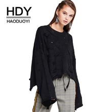 HDY Haoduoyi Fashion Simplicity Hole Hollowing Out Frenulum Easy Knitting Sweater Black White Long Sleeve Tops
