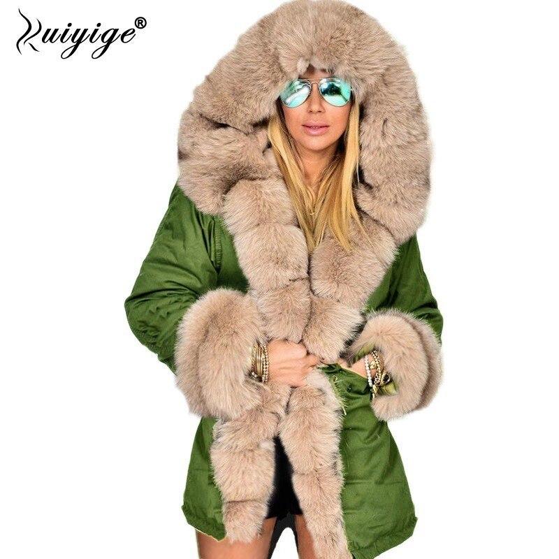 Ruiyige Осень Зима куртка для женщин искусственный мех хлопок теплое пальто женские длинные пальто с капюшоном парки толстовки плюс размеры 4XL ...