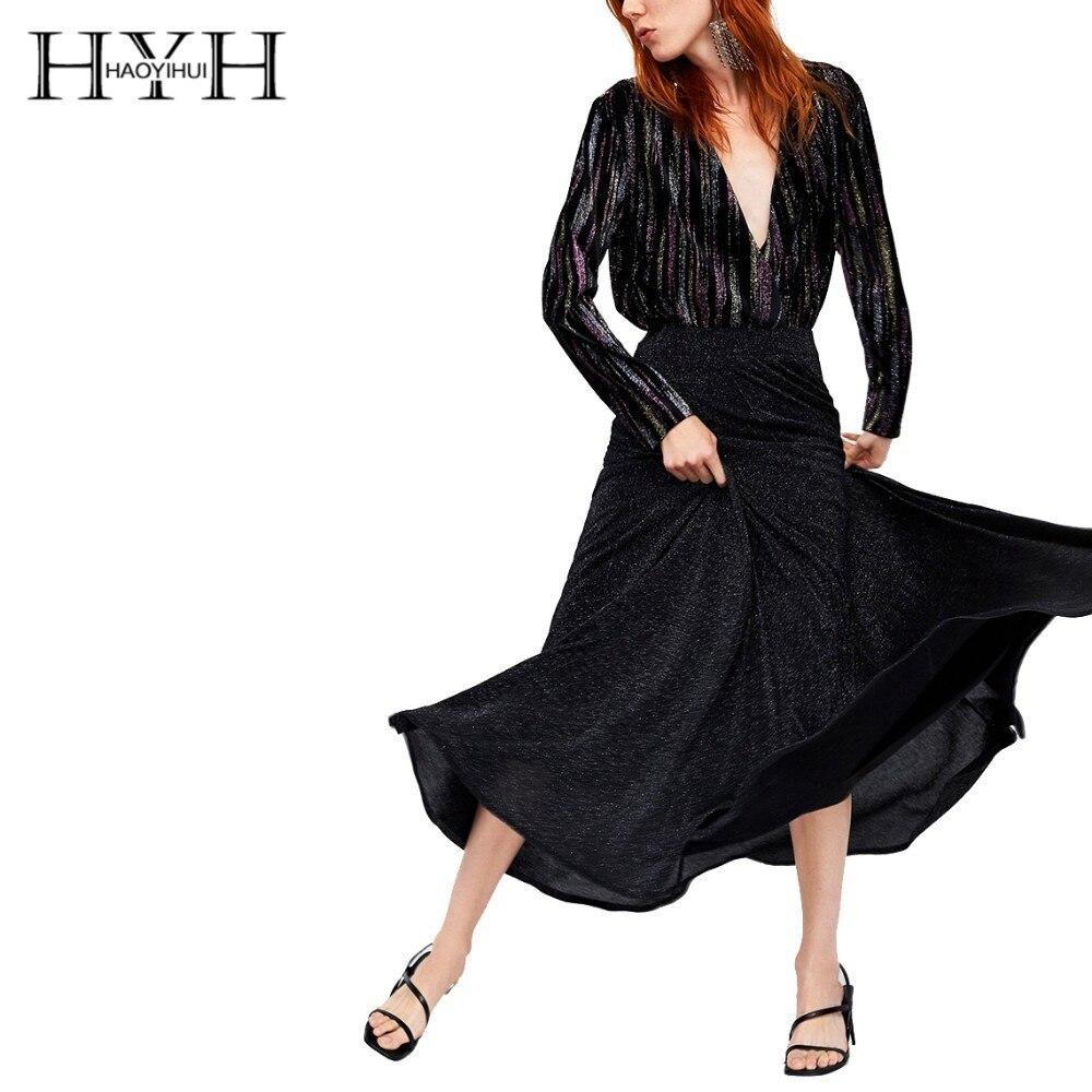 HYH HAOYIHUI  2019 New Spring Women Temperament A-shaped Pleated Shiny Half-length Skirt