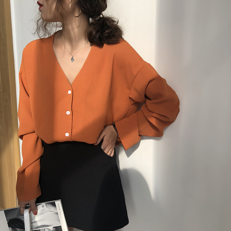 Lychee Girls Solid Color Single Breasted Chiffon Blouse Shirt V-neck Long Sleeve Women Blouse Summer Casual Shirt Streetwear