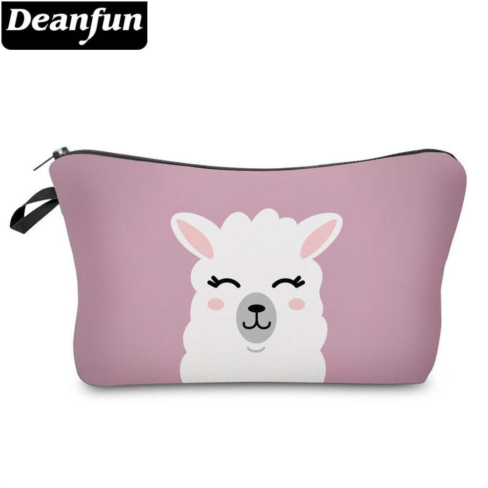 Deanfun Cute Llama Cosmetic Bag Waterproof Makeup Bags Pink Cosmetics Pouchs Travel Storage Gift  51437