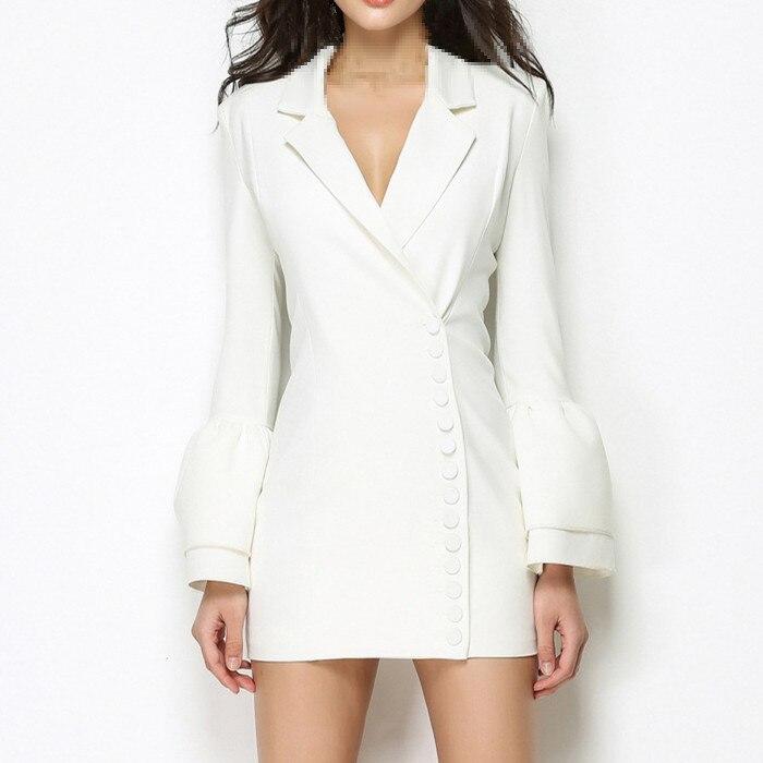 ligne V Manches Femmes Taille Blazers Blanc De Cou Haute Nouveau Robe Costumes Mode Automne A Sexy Poitrine Mi Flare Unique EDIW2Y9H