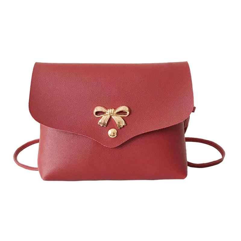 ... Women Bowknot Shoulder Messenger Bag Girls Mini PU Leather Casual  Crossbody Sling Bags Portable Female Bag ... 2b4f761ac5fc