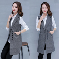 #0716 Plaid Sleeveless Blazer Vest Women Office Long Lattice Suit Vest Slim Sleeveless Coat Formal Waistcoat Female Black/Grey